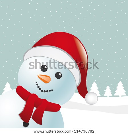 snowman with scarf and santa claus hat