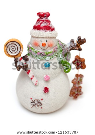 snowman with sweets isolated on white background