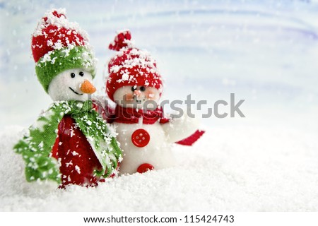Stock Photo SNOWMEN SERIES - two smiling snowmen friends in the snow, no name toy