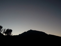 snowpeak mountain silhouette at sunset