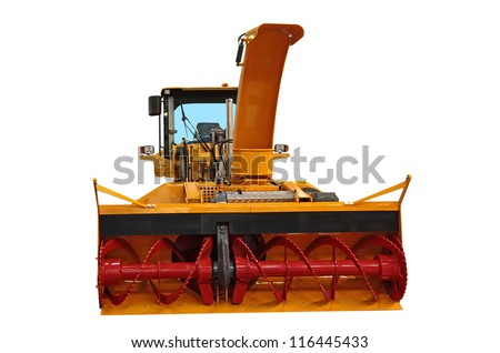 Snowplow of rotor type of big capacity isolated on the white