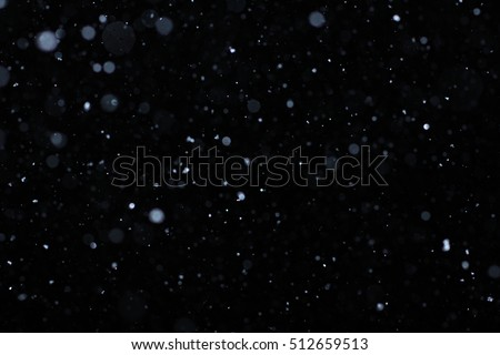 Snowstorm texture. Bokeh lights and Falling snow on a black background for use as a texture layer in your project. Add as \