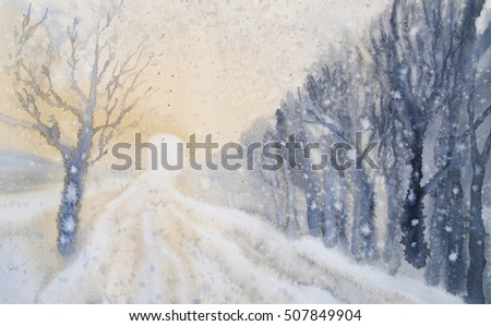 snowstorm winter sun watercolor ...
