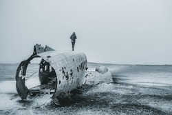 Snowstorm Wrecked Plane in South Sore of Iceland