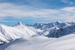 Snowy alps in Italy, Livigno