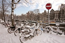 Snowy Amsterdam in wintertime in the Netherlands