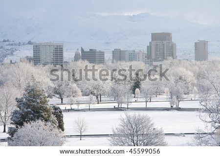 Snowy Boise morning