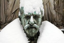Snowy Bust on the old Prague Cemetery