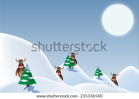 snowy christmas landscape with