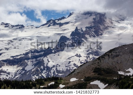 Snowy evergreens & mountain tops. Take a look at these beautiful shots of Washington States Mount Rainier. #1421832773