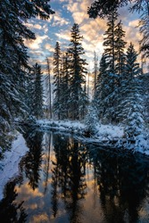 Snowy forest and colourful clouds reflected on river like a mirror. Beautiful natural scenery in winter sunset time. Fenland Trail, Town of Banff, Canadian Rockies.