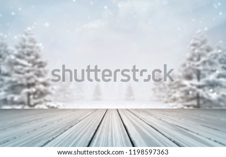 snowy forest with wooden deck at daylight, winter nature 3D scene editable background illustration