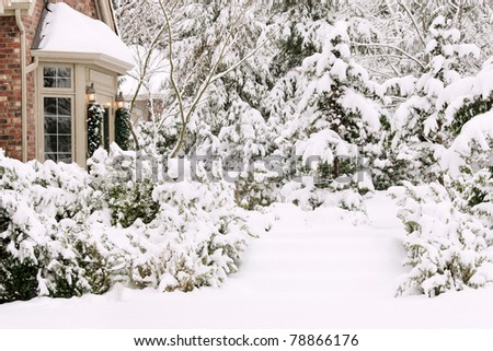 Snowy front entrance to suburban home