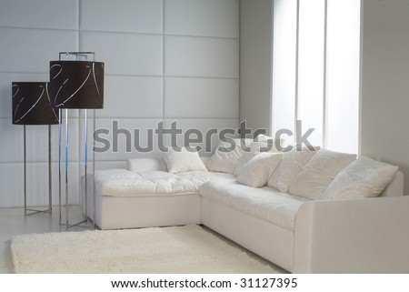 snowy interior with flor-lamp, sofa and carpet