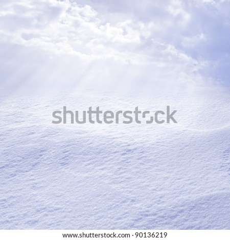snowy landscape lit by the sun valley