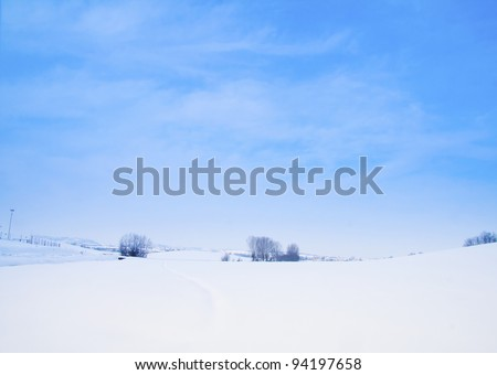 Snowy landscape of a little wood and hills on the back