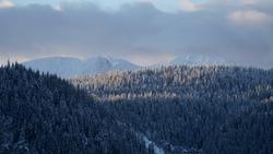 Snowy landscapes in Boge, Kosovo.