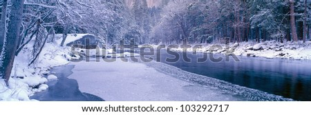 Snowy Merced River in Yosemite, California