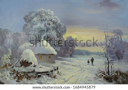 snowy morning on the edge of the village with figures of travelers,oil painting, fine art, rural landscape, winter, tree, sky, nature, snow