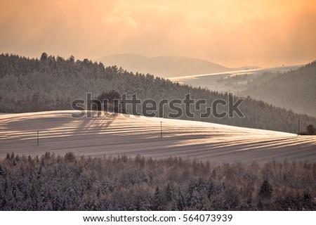 Snowy mountain in Muszyna - Poland. Zdjęcia stock ©