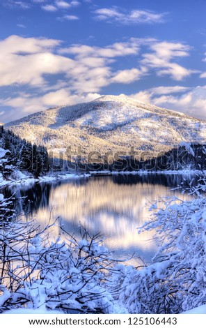 Snowy mountain on the Pend Oreille River in Eastern Washington.