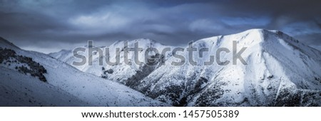 Snowy Mountain Peaks, Large High Altitude Mountains Background, New Zealand Landscape, Close Up Mountains, Snow Capped Peak, Winter Landscape, Cold Weather Environment