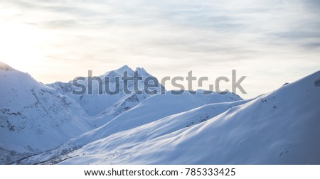 Snowy mountain side at a ski resort in Norway #785333425