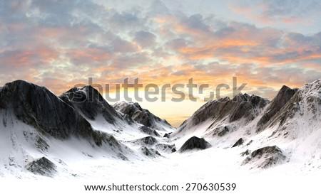 Stock Photo Snowy mountains