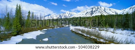 Snowy mountains and Chulitna River, Alaska
