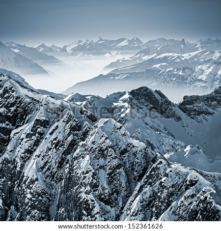 snowy mountains in the swiss...