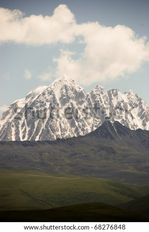 Snowy mountains in Tibet, the start of the Himalayas