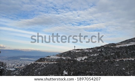 Snowy mountains view in winter Stok fotoğraf ©