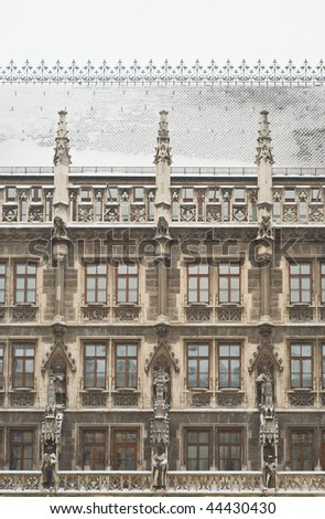 Snowy Munich City Hall as Example of Gothic Architecture