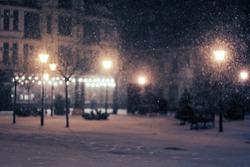 snowy night alley