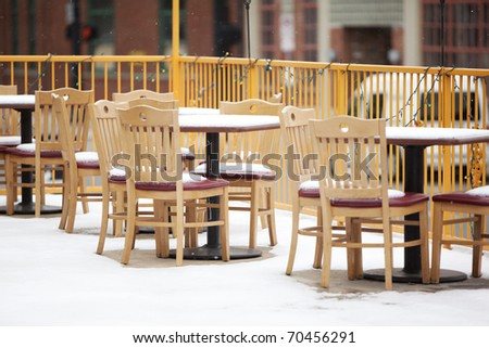 snowy outdoor cafe