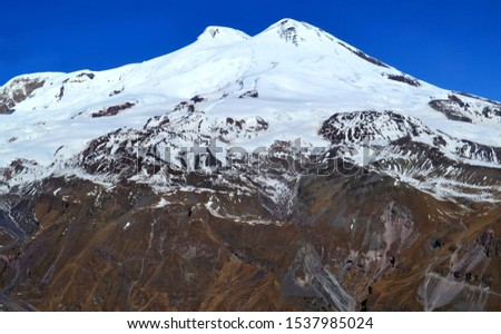 Snowy peaks of Mount Elbrus. The highest mountain peak in Russia and Europe.