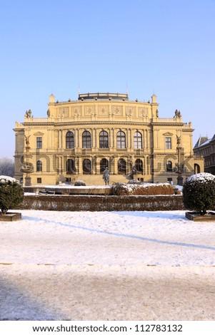 Snowy Prague House of Artists Rudolfinum in the sunny Day, Czech Republic - stock photo