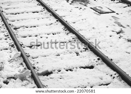 Snowy Railroad Tracks on a Winter Day