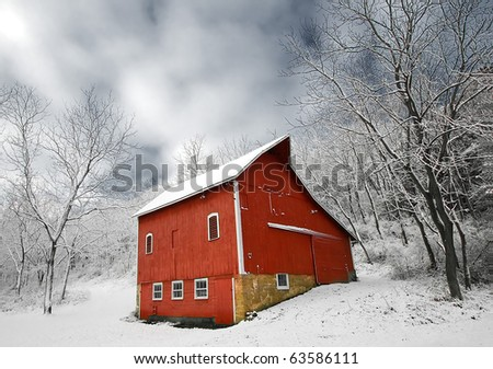 Snowy Red Barn in Winter Landscape Scene