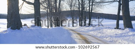 Snowy Road at Sunset, Near Woodstock, Vermont
