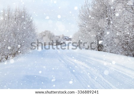Snowy road through the forest, day.