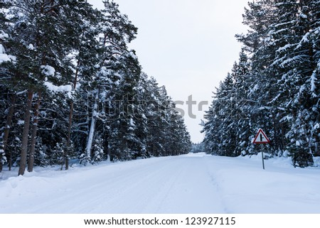 Snowy road under freezing white sky on the country side