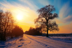 Snowy rural road at sunset