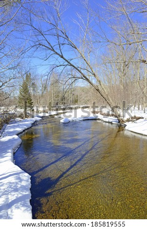 Snowy scene in the forest with stream melting out Stock fotó ©