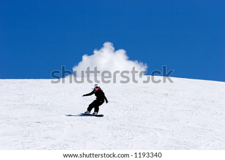 Snowy ski slopes of Pradollano ski resort in the Sierra Nevada mountains in Spain with woman snowboarding
