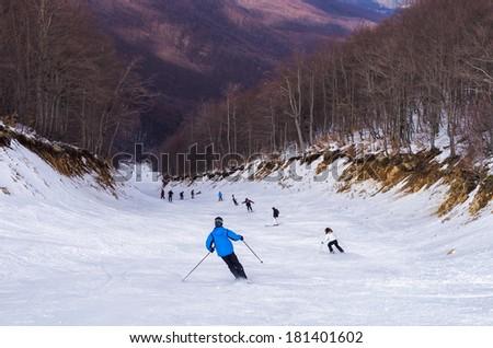 Snowy slope on Vermion mountain, in 3-5 Pigadia ski center, Naoussa, Greece