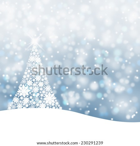 Snowy soft blue background illustration with snowflake Christmas tree and sparkle. - Shutterstock ID 230291239