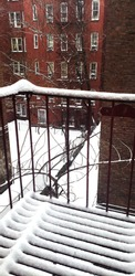 Snowy view of a fire escape and back alley with red brick buildings surrounding the alleyway in New York City.