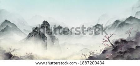 Snowy winter, beautiful oriental scenery.Ink landscape painting in winter.Eastern traditional painting.Ink and wash landscape painting.
