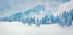 Snowy winter day in the abandoned mountain village. Frosty outdoor scene of Carpathian mountains, Happy New Year celebration concept. Artistic style post processed photo. Orton Effect.